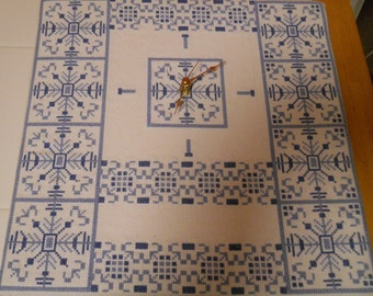Blue and White cross stitch clock
