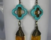 Wire Wrapped Amber Czech Glass Teardrops with Magnesite Flowers