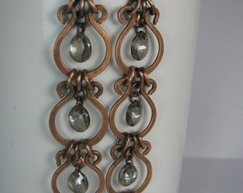 Long Earrings with Hammered Copper Links and Bronze Swarovski Crystals