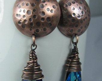 Bermuda Blue Swarovski Crystals with Dimpled and Domed Copper