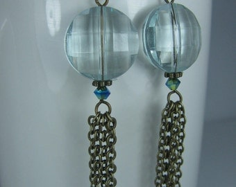 Faceted Large Blue Beads with Antique Brass Dangles
