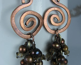 Hammered Copper Swirls with Clusters of Chocolate Pearls