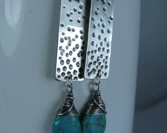 Dimpled Sterling Silver Rectangles with Wire Wrapped Genuine Turquoise