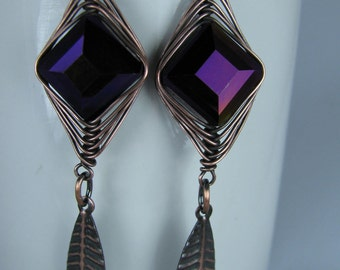 Herringbone wrapped Sparkly Glass Purple Beads with Long Antique Copper Leaves