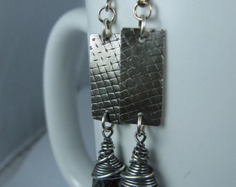 Industrial Sterling Silver Rectangles with Silver Night Swarovski Crystals
