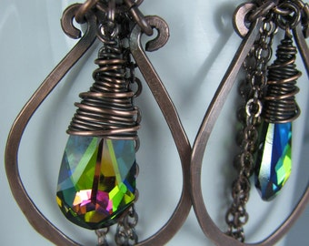 Emerald Rainbow Crystals wrapped in Copper Wire with Hammered Copper Hoops and Chain