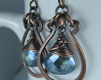 Wire wrapped Blue Crystal Fans with Hammered Copper Hoops