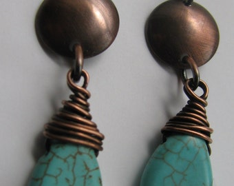 Dainty Turquoise Teardrop and Domed Copper Disc Post Earrings