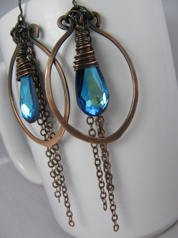 Bermuda Blue Crystals wrapped in Copper Wire with Hammered Copper Hoops and Chain