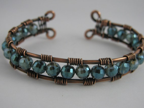 Teal Crystal and Copper Wire Wrapped Cuff Bracelet