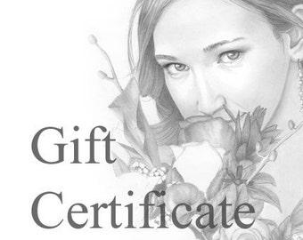 Gift Certificate - Custom pencil portrait