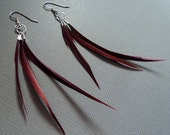 CLOSEOUT SALE 25% off everything-use code 25OFF at checkout - Trinity . Burgundy Feather Earrings with free shipping