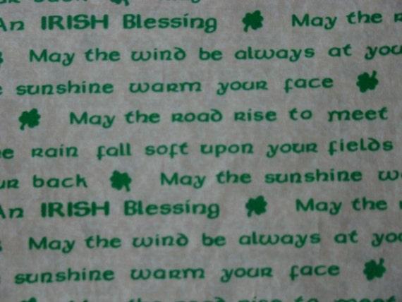 Destash Cotton Fabric Beautiful Green Irish Blessing