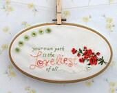 embroidered vintage hankie wall art