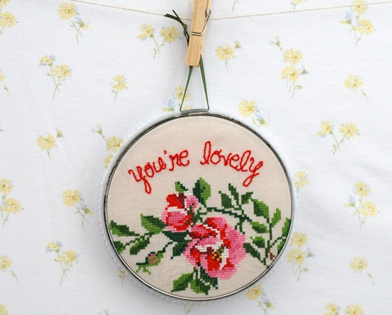 embroidered vintage tablecloth wall art