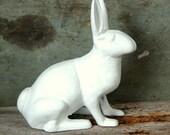 French White Painted Cast Iron Garden Rabbit Statue Shabby Chic