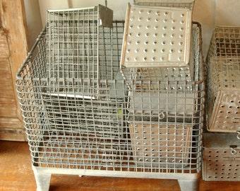 On SALE Antique Architectural Retro Metal Eames Era industrial basket HUGE galvanized steel mid century factory box storage cabinet