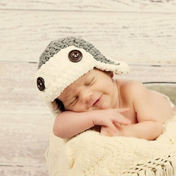READY TO SHIP Newborn aviator hat in gray- also available in newborn, infant, and toddler sizes