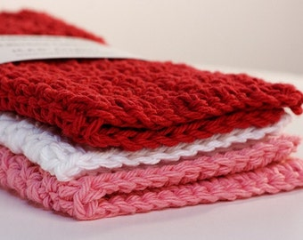The Valentine Dishcloth Collection- Red, Pink, and White