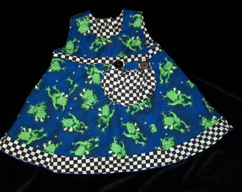 Reversible Button Froggie dress in size 3-6 months with diaper cover or 6-12 months