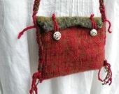 Shoulder bag purse handbag in felted hand spun hand dyed wool, medium Bohemian Bag boho primitive green red pouch LifesAnExpedition i672