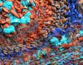 Dread head wrap wide headband hair band, crochet fiber art blue teal orange bohemian boho hippie stretch silk wool Life's an Expedition i721