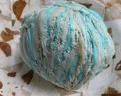 Yarn light worsted cotton blend, turquoise teal aqua beige glittering metallic, Sirdar Medici 104 yards Life's an Expedition