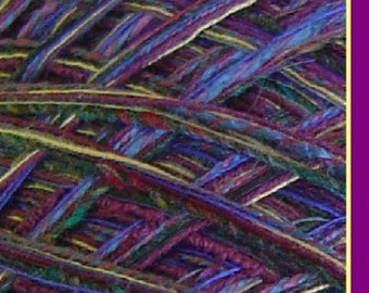 Yarn DK light worsted alpaca wool cotton lambswool, purple green 150 yds Castle Gold art yarn Life's an Expedition dj runnels