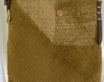 Tote, tribal hand woven handbag, primitive bohemian hippie large wool rustic bag, gold brown tan beige hand spun yarn, Life's an Expedition
