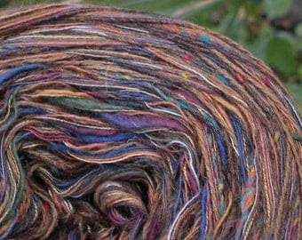 Yarn worsted dark brown wool, 100 yards French Morocco lambswool cashmere gold purple green blue knitting crochet yarn Life's an Expedition