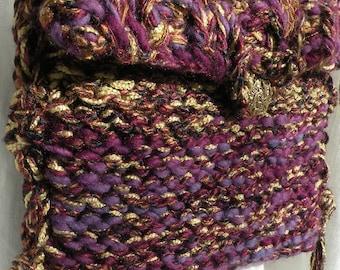 Purse handbag Bohemian Bag, hand knit crochet, merino wool hippie boho purple Violet Tapestry small medium Life's an Expedition i675