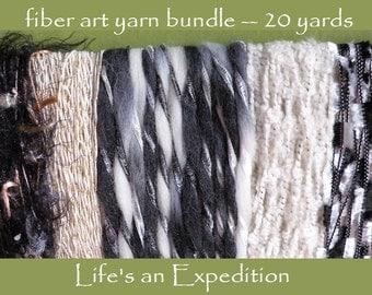 Trim yarn Scrapbooking Supplies, fiber art bundle 20 yards, black white gold silver gray, variety pack assorted Halloween goth i676