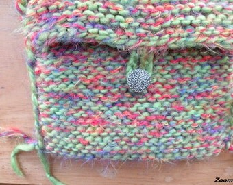 Shoulder bag. Purse, small medium handbag, Bohemian Bag, cell phone bag, bright lime green soft wool boho hippie i710 sale
