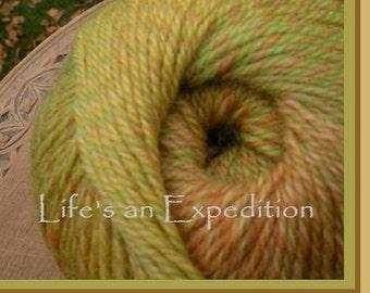 Sock yarn: 440 yds Citrus all-wool yarn, 2 skeins, fingering baby lace sock felt felting soft, green orange yellow variegated
