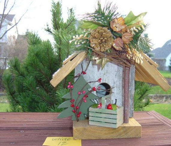 Birdhouse: Rustic barnwood, reclaimed antique wood from a Civil War Illinois barn, vintage decoration outdoor garden bird house Mother's Day
