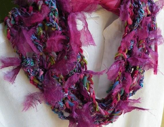 Crochet necklace scarf Monte Carlo, silk multicolor long skinny women's fashion knit, Bohemian gypsy, magenta purple pink blue wool  i614
