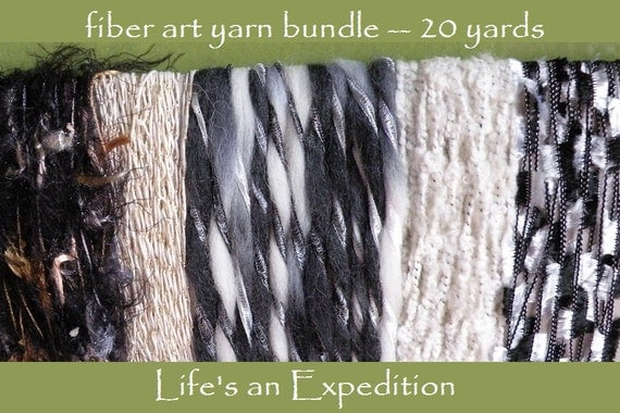 Trim yarn Scrapbooking Supplies: fiber art bundle 20 yards, black white gold silver gray, variety pack assorted Halloween goth i676