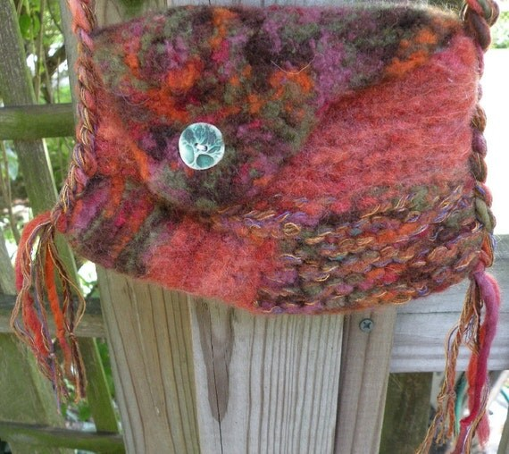 Felted wool tree handbag, small purse, iPhone bag, Bohemian bag freeform ceramic tree button boho primitive rustic brown green leaf  i792