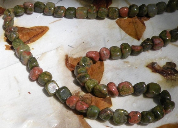 86 beads: unakite semiprecious pebbles stones, 16-inch strand, moss green pink brown, destash i25