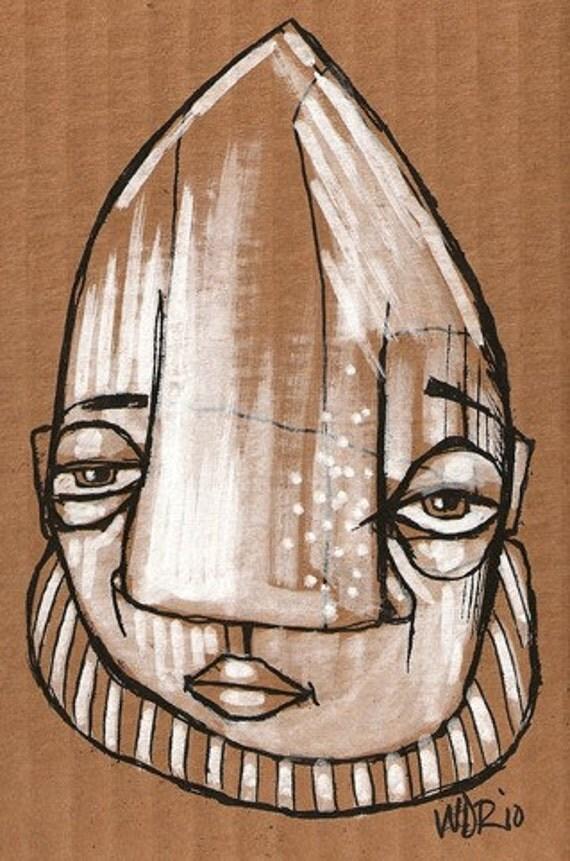 Mort - Original Illustration on Cardboard
