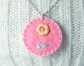 Children's Necklace, Embroidered Felt and Buttons, Pink Green Yellow, Flower Jewelry, Gifts for Kids