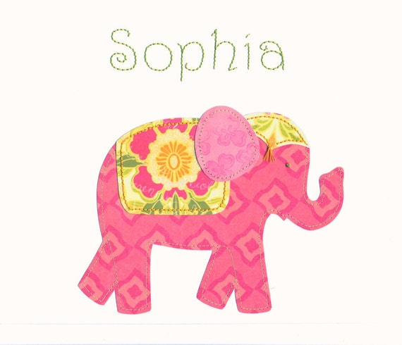 Nursery wall art, baby girl, elephant art, custom made, personalized, 8 x 10 wall art collage