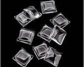 Clear Glass Cabochon Square Dome Bead Crystal Magnify 10mm (10) - BGL-9050