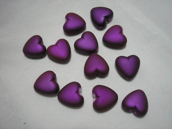 Bead - 12 - Acrylic with rubberized coating - Heart - Purple -17x15mm