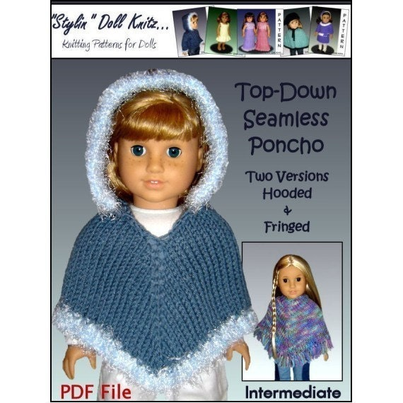 Knitting Pattern For American Girl Doll Poncho : Knitting Pattern Doll Clothes Poncho Fits American Girl