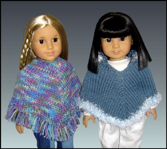 Knitting Patterns For Journey Girl Dolls : Knitting Pattern fits 18 inch dolls/American Girl Doll. Poncho PDF, Our Gener...