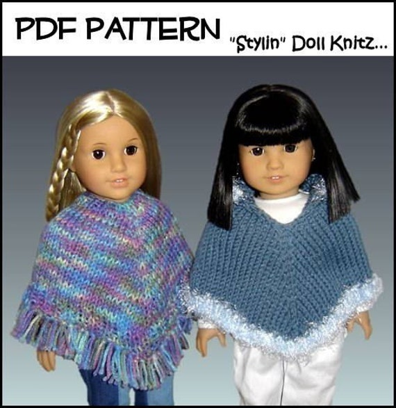 Free Knitting Pattern For Poncho For American Girl Doll : Knitting Pattern Doll Clothes Poncho Fits American Girl
