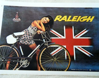 Vintage Bicycle Poster 1960s Raleigh Bicycles Nottingham England Poster Size Book Plate