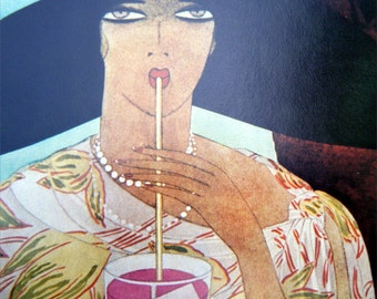 VOGUE Magazine Cover Poster Print August 1, 1926 Illustrated by Harriet Meserole Lady Sipping Drink  Vogue Poster Book