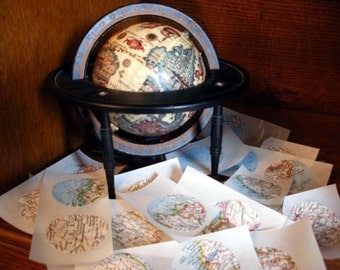Handmade Vintage Atlas Map Stickers (50) Fifty 1-1/2 Inch Stickers From Vintage Maps